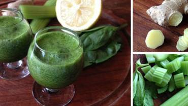 How to Make an Immunity Boosting Shot with Celery, Spinach, Ginger, Lemon, and Manuka Honey