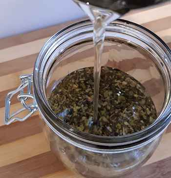 How to Make a Chapparal Salve for Wounds and Skin Infections - Add Oil