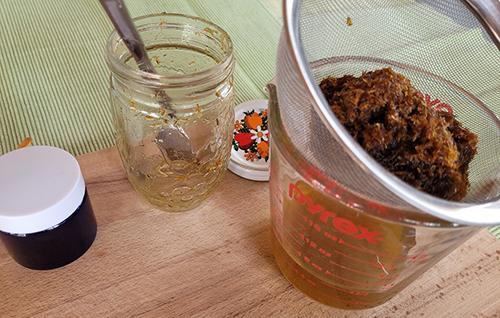 Infusing Oil with Calendula Next Day- Step 3